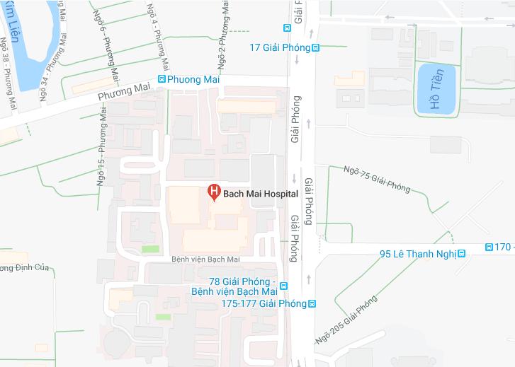Sơ đồ đường đi tới bệnh viện Bạch Mai