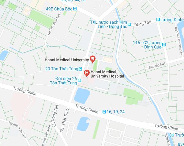 Sơ đồ đường đi tới bệnh viện Đại Học Y Hà Nội